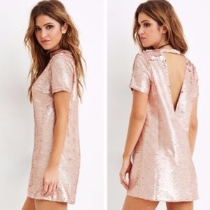 F21 Rose gold sequin mini party dress